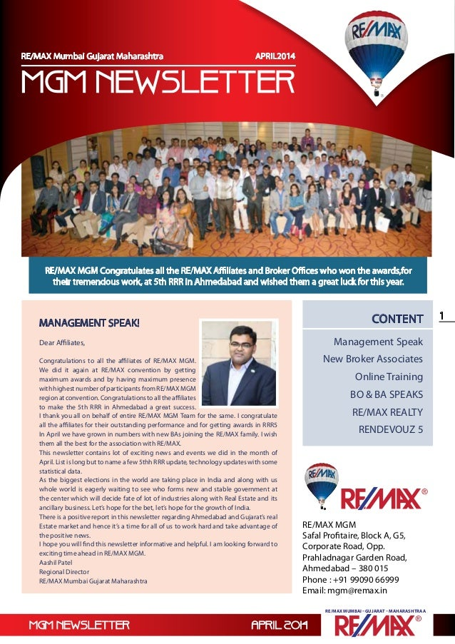 RE/MAX Mumbai Gujarat Maharashtra Newsletter April 2014