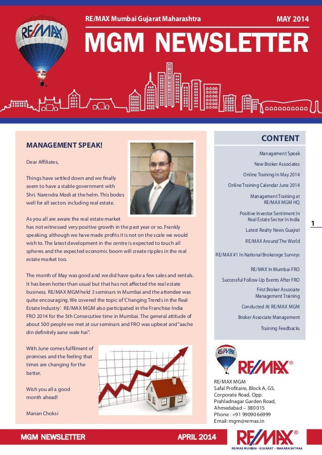 MGM NEWSLETTER APRIL 2014 1 RE/MAX MUMBAI –GUJARAT – MAHARASHTRAA RE/MAX MGM Safal Profitaire, Block A, G5, Corporate Road...