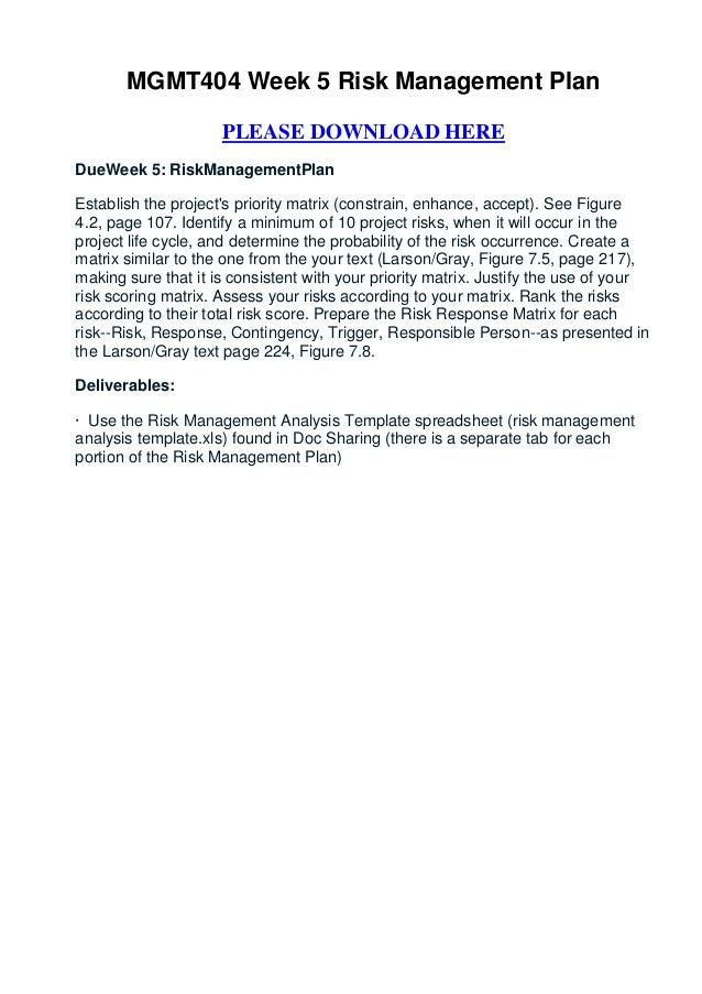 Mgmt404 week 5 risk management plan