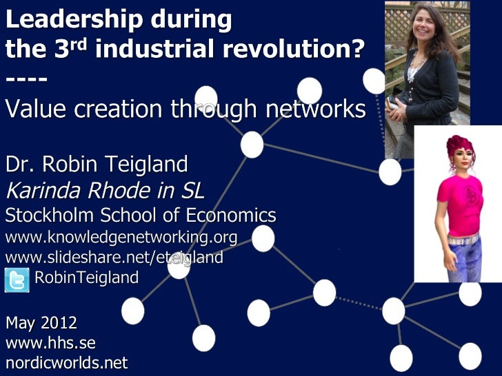 Leading during 3rd Industrial Revolution: Value creation through networks