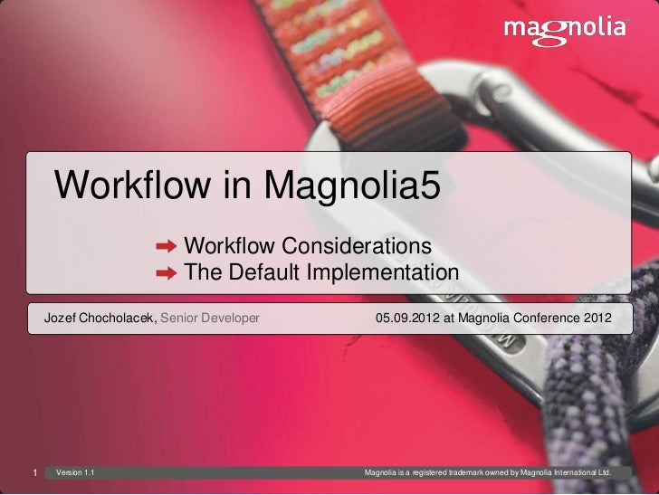 Workflow in Magnolia5                          Workflow Considerations                          The Default Implementation...