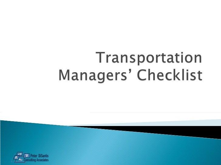Transportation Mgr's Checklist