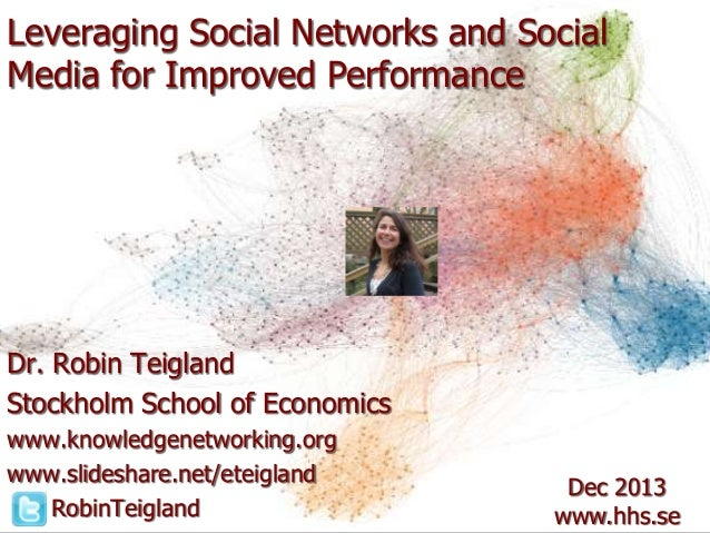 Leveraging Social Networks and Social Media for Improved Performance  Dr. Robin Teigland Stockholm School of Economics www...