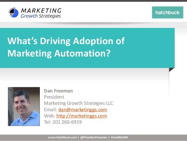 www.hatchbuck.com | @TheeDanFreeman | #smallbizMA What's Driving Adoption of Marketing Automation? Dan Freeman President M...