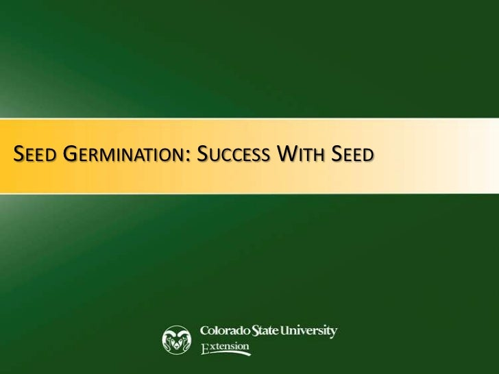 SEED GERMINATION: SUCCESS WITH SEED