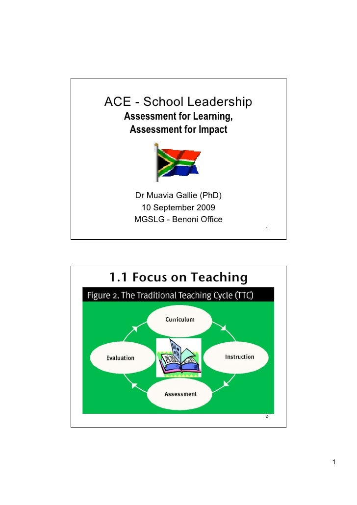 ACE - School Leadership    Assessment for Learning,     Assessment for Impact          Dr Muavia Gallie (PhD)       10 Sep...