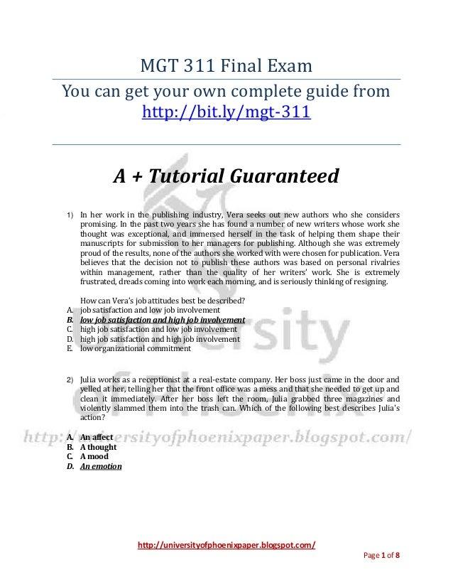 Mgt 311 / Mgt311 final exam