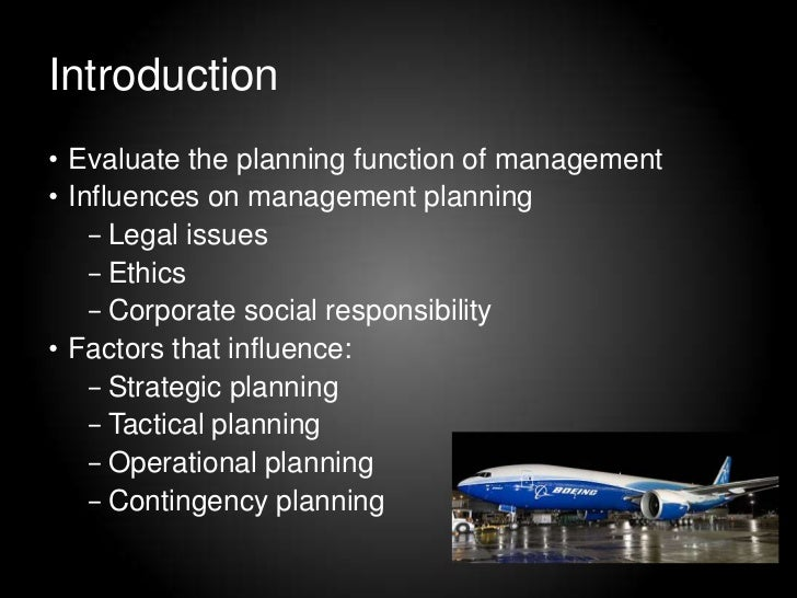 planning function of management for boeing essay