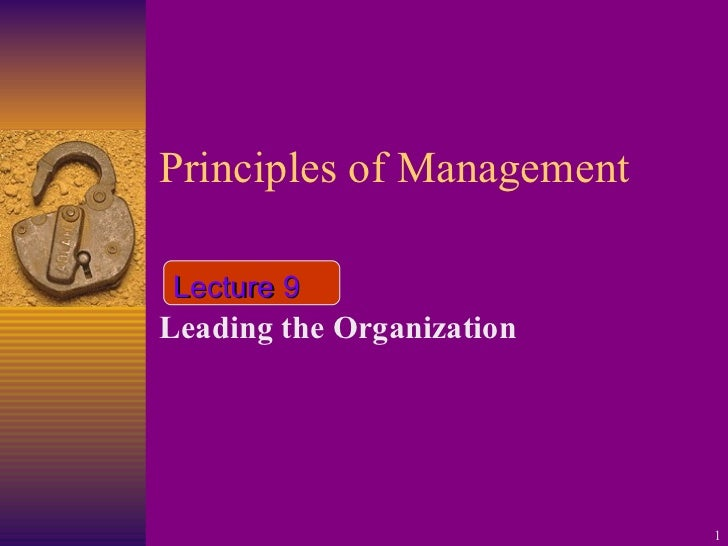 Principles of Management Leading the Organization Lecture 9