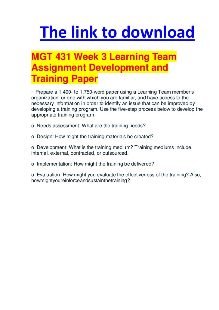 training and development research papers Training and development research paper the training and development research paper is due week six focus of the training and development paper: each person must.