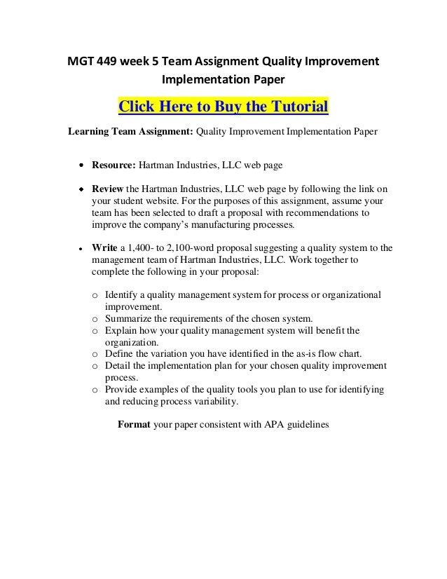 mgt 449 week 5 team assignment