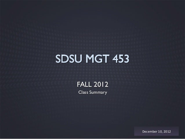 FALL 2012Class Summary                December	  10,	  2012