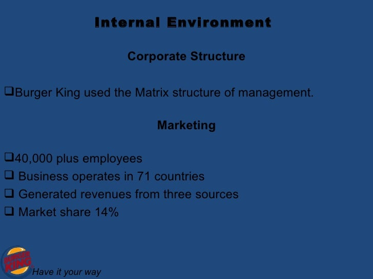 marketing environment of burger king B socio-cultural factors c technological factors d environment e legal  factors  mcdonald's, being a food industry, dominates the market till today with   competition from major food chains like burger king, kfc and.