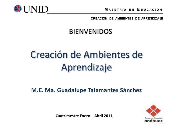 CREACIÓN  DE  AMBIENTES  DE  APRENDIZAJE<br />M A E S T R Í A    E N    E D U C A C I Ó N<br />BIENVENIDOS<br />Creación d...