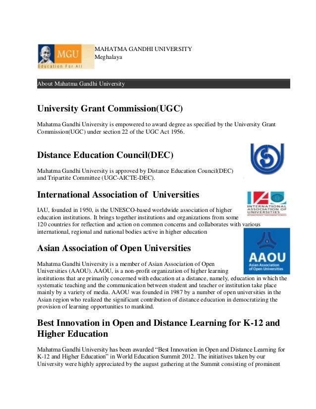 MAHATMA GANDHI UNIVERSITY                       MeghalayaAbout Mahatma Gandhi UniversityUniversity Grant Commission(UGC)Ma...