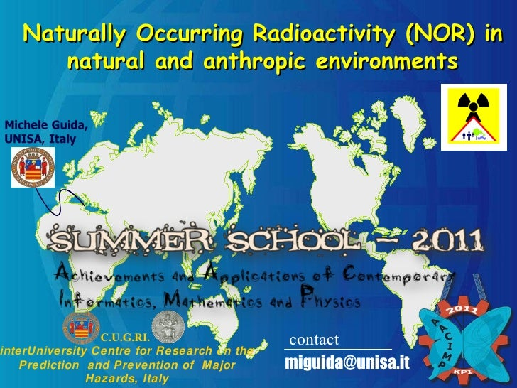 Naturally Occurring Radioactivity (NOR) in natural and anthropic environments