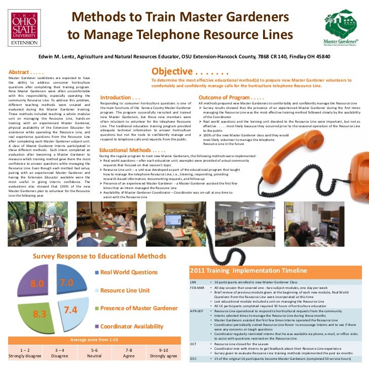 Methods to Train Master Gardeners                                    to Manage Telephone Resource Lines                  E...