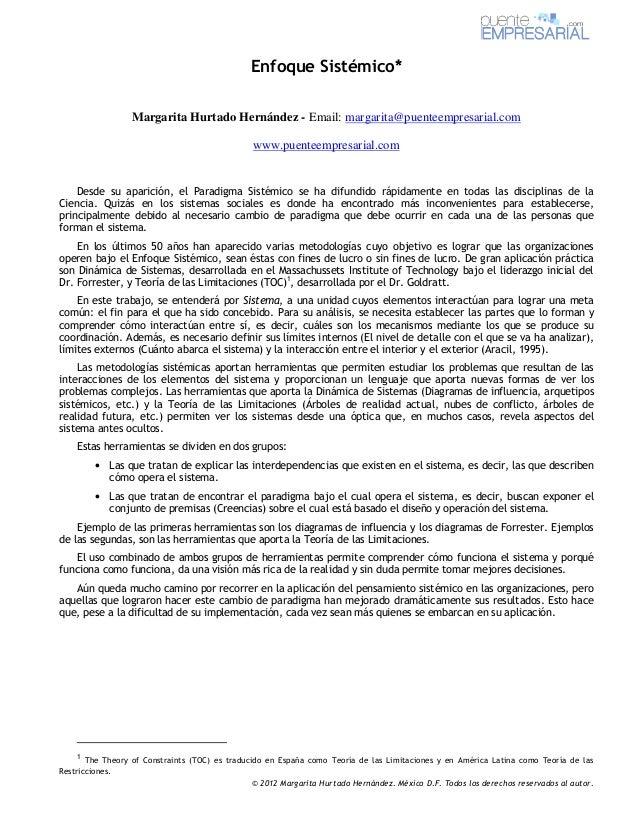 Enfoque Sistémico*                 Margarita Hurtado Hernández - Email: margarita@puenteempresarial.com                   ...