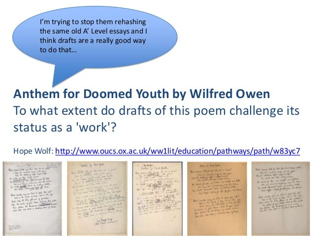 anthem for doomed youth essay help ssays for  anthem for doomed youth essay gcse english marked by teachers com