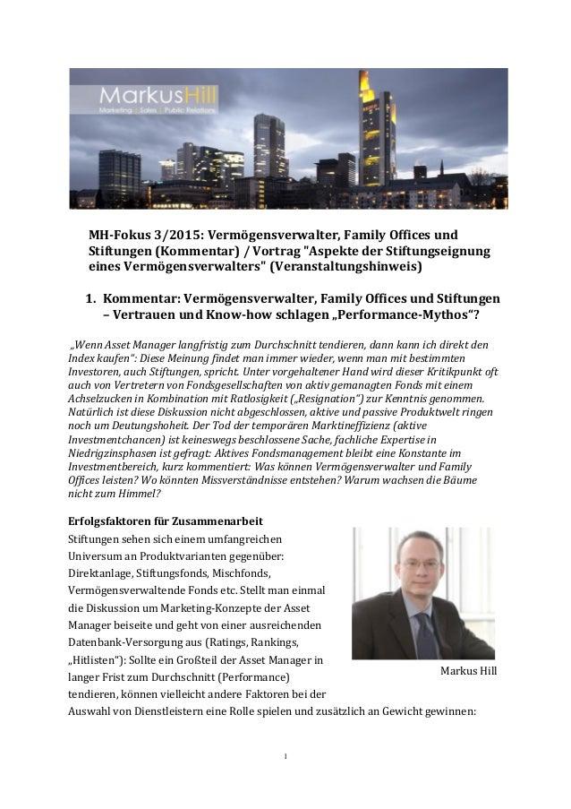 """1 MH-Fokus 3/2015: Vermögensverwalter, Family Offices und Stiftungen (Kommentar) / Vortrag """"Aspekte der Stiftungseignung e..."""