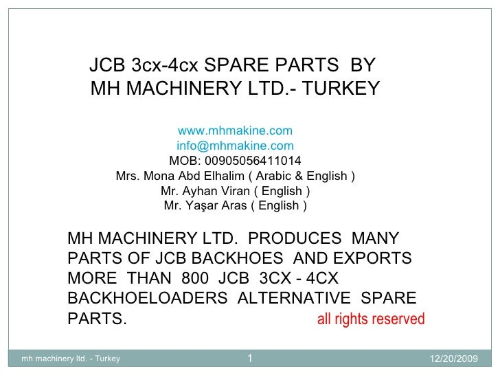 Mh Machinery Ltd.   Jcb Parts List