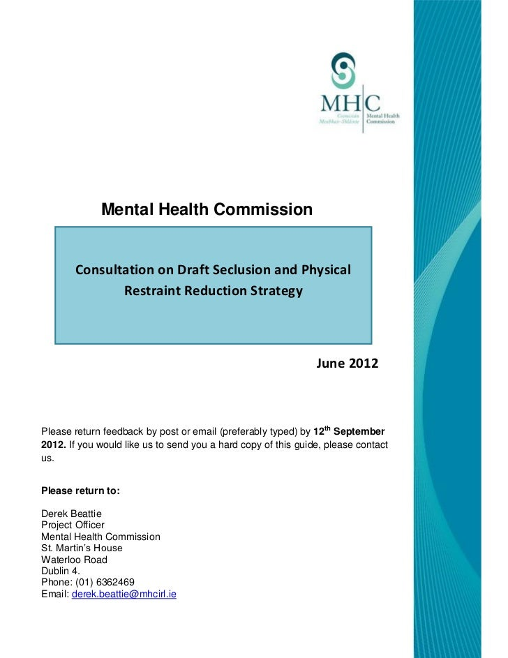 Mhr submission to the mhc on seclusion and restraint reduction strategy final