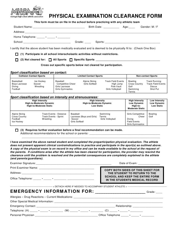 PHYSICAL EXAMINATION CLEARANCE FORM                         This form must be on file in the school before practicing with...