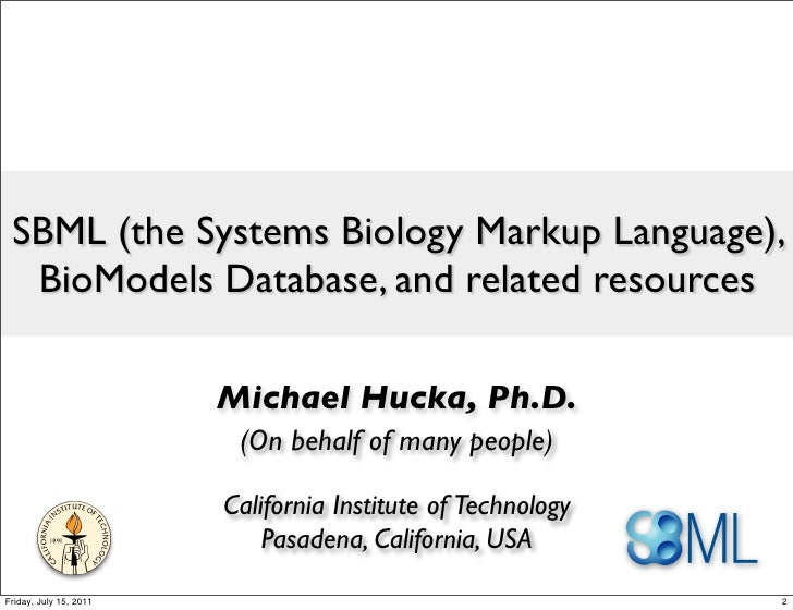 SBML (the Systems Biology Markup Language), BioModels Database, and related resources