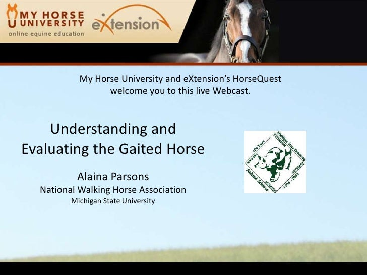 Understanding and Evaluating the Gaited Horse (Parsons)