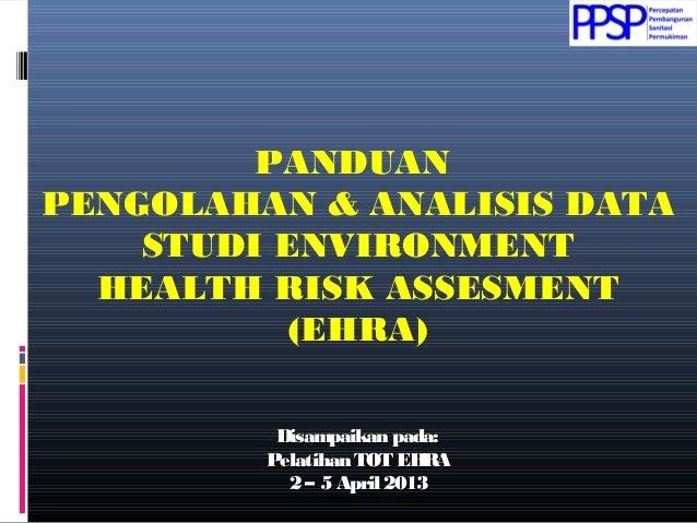 PANDUAN PENGOLAHAN & ANALISIS DATA STUDI ENVIRONMENT HEALTH RISK ASSESMENT (EHRA) Disampaikan pada:Disampaikan pada: Pelat...