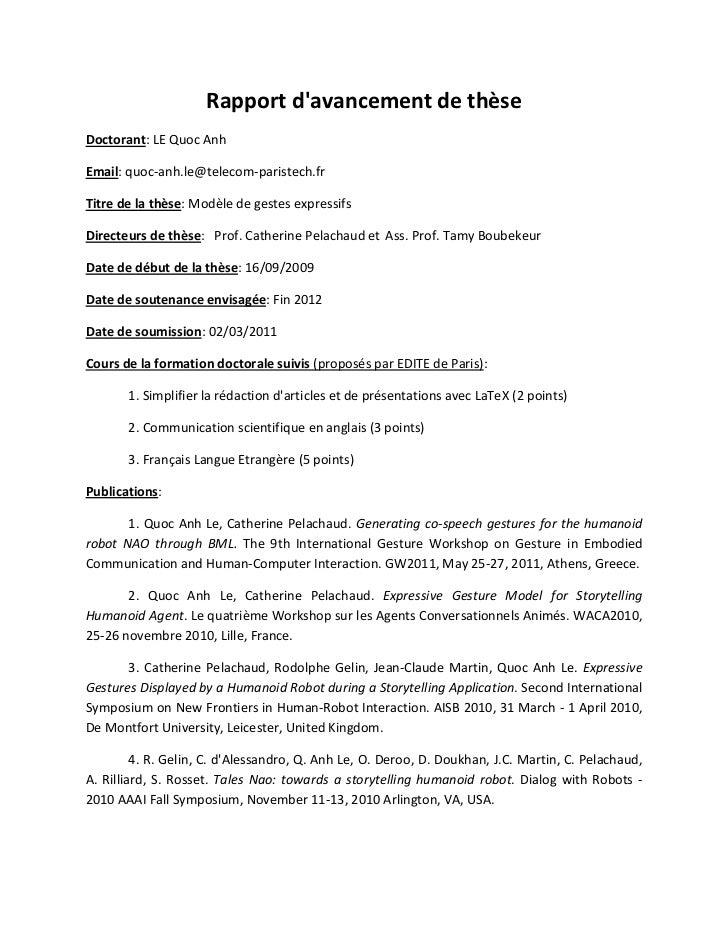 Rapport davancement de thèseDoctorant: LE Quoc AnhEmail: quoc-anh.le@telecom-paristech.frTitre de la thèse: Modèle de gest...