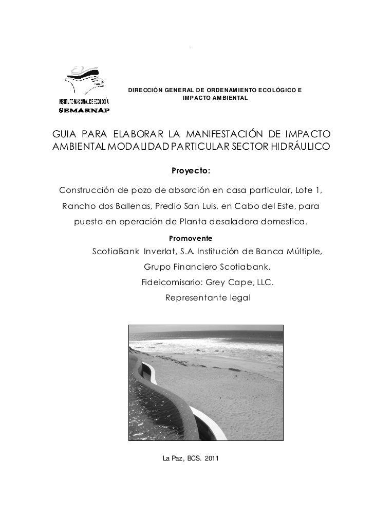 .                 DIRECCIÓN GENERAL DE ORDENAMIENTO ECOLÓGICO E                               IMPACTO AMBIENTALGUIA PARA E...