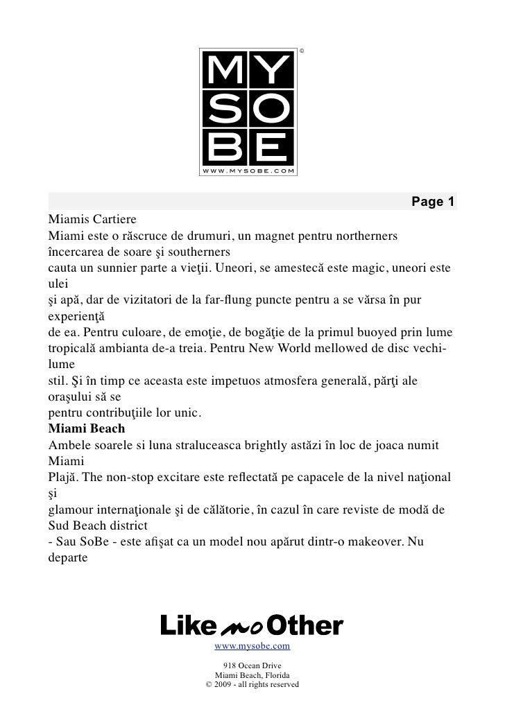 Page 1 Miamis Cartiere Miami este o răscruce de drumuri, un magnet pentru northerners încercarea de soare şi southerners c...
