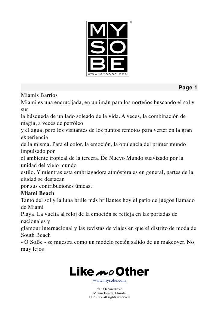 Page 1 Miamis Barrios Miami es una encrucijada, en un imán para los norteños buscando el sol y sur la búsqueda de un lado ...