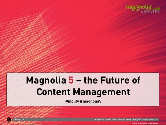 Magnolia 5 – the Future of                   Content Management                          #mplify #magnolia51   Version 1.1...