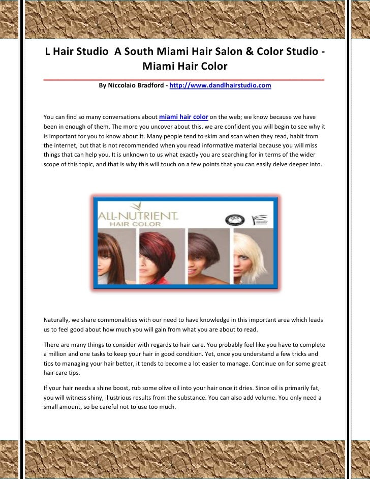 L Hair Studio A South Miami Hair Salon & Color Studio -                   Miami Hair Color________________________________...