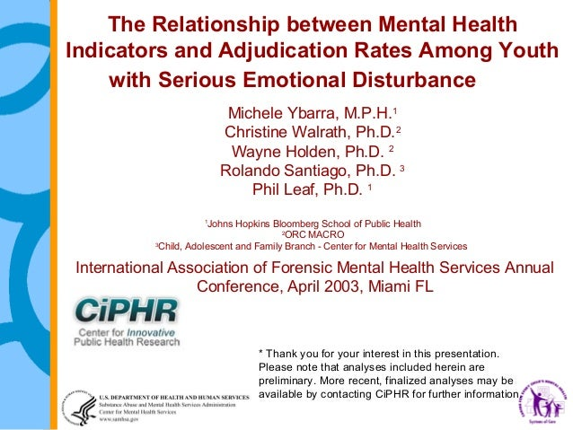 The relationship between mental health indicators and adjudication rates among youth with serious emotional disturbance