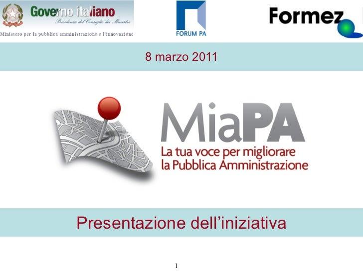 MiaPA. Presentazione dell'iniziativa di Gianni Dominici