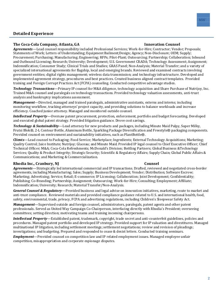 Sample General Counsel Resume