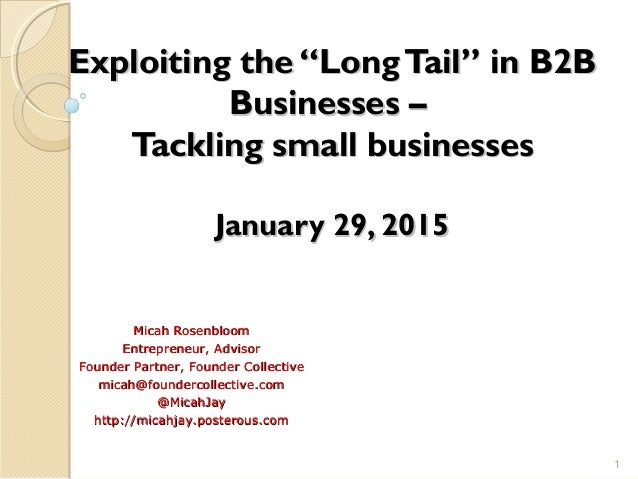 """Exploiting the """"LongTail"""" in B2BExploiting the """"LongTail"""" in B2B Businesses –Businesses – Tackling small businessesTacklin..."""