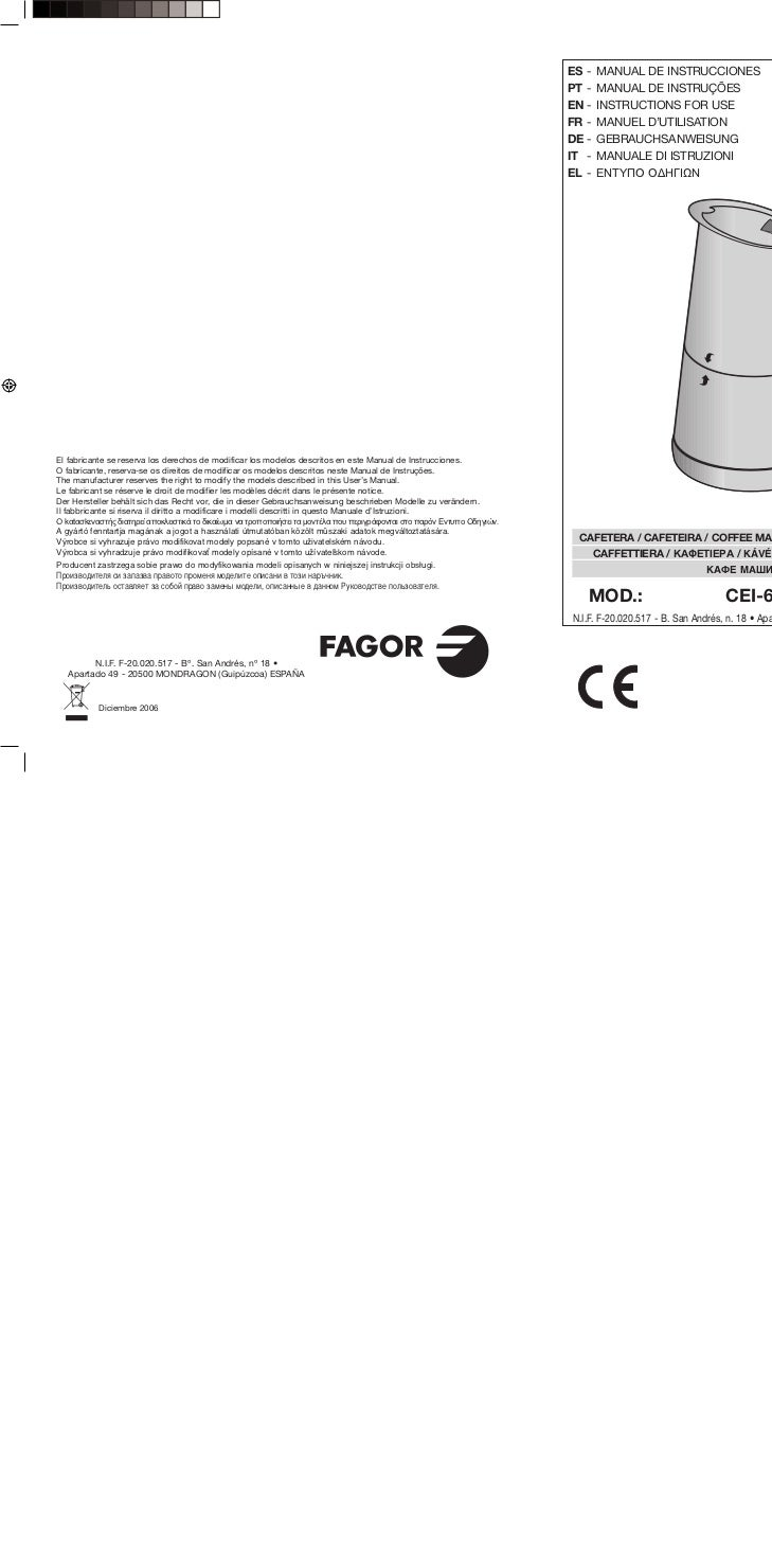 Mi cei 600 - Servicio Tecnico Fagor