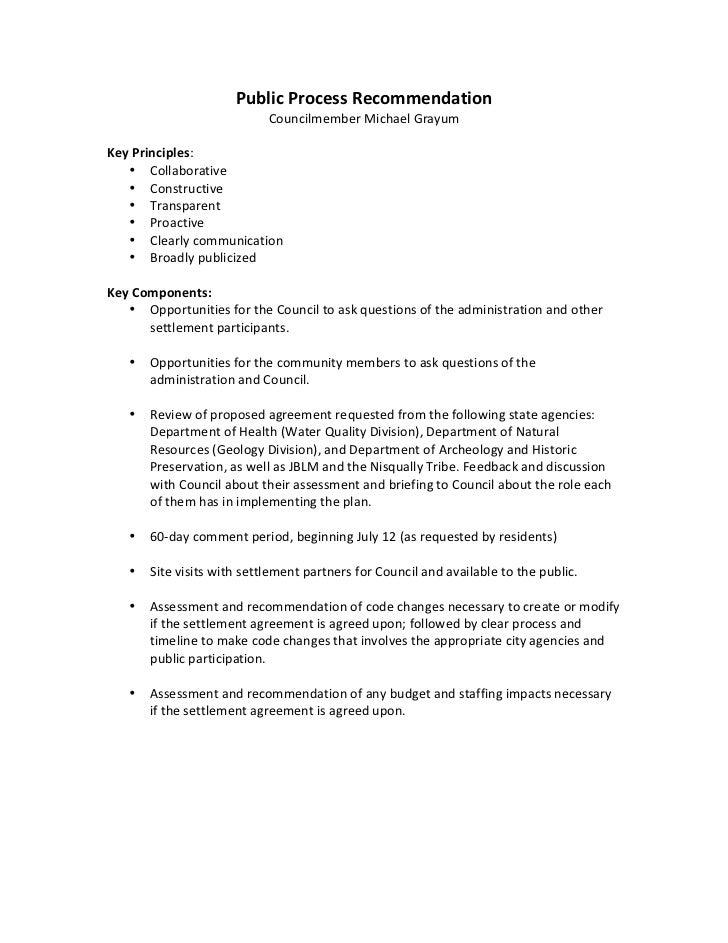 michael grayum public process recommendation for 2011 settlement agreement