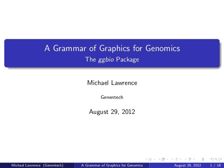 A Grammar of Graphics for Genomics                                 The ggbio Package                                  Mich...