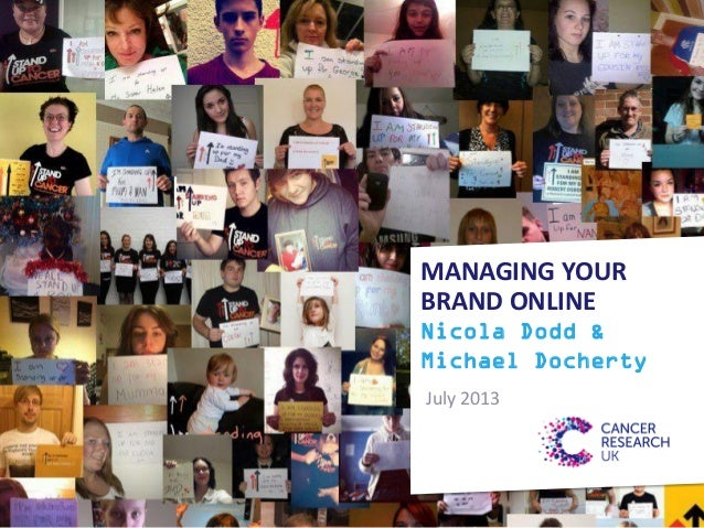 MANAGING YOUR BRAND ONLINE Nicola Dodd & Michael Docherty July 2013