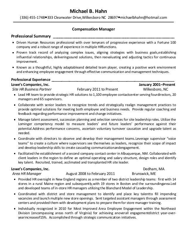 Manager compensation resume