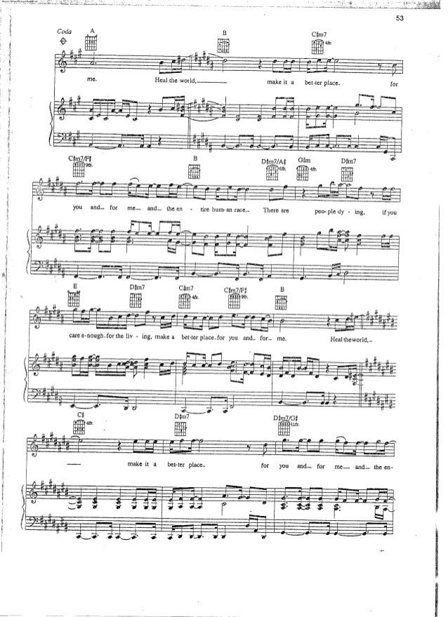 Partitura Michael Jackson Heal The World