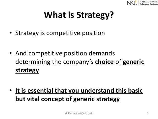 michael porter what is strategy Michael porter is associated with the positioning school (mintzberg 2002:23), who's analytical approach sees strategy making mainly based on a process to identify drivers(forces) of intra-industry competition and its corresponding barriers.