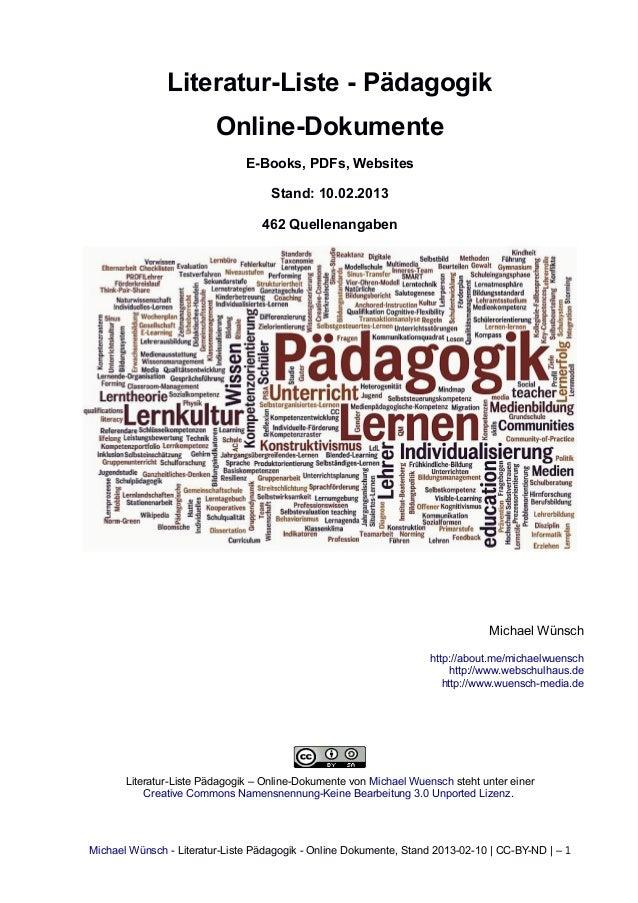 Literatur-Liste - Pädagogik                         Online-Dokumente                               E-Books, PDFs, Websites...