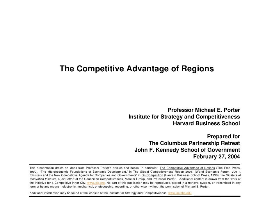 Micheal Porter On Competitiveness And The Region