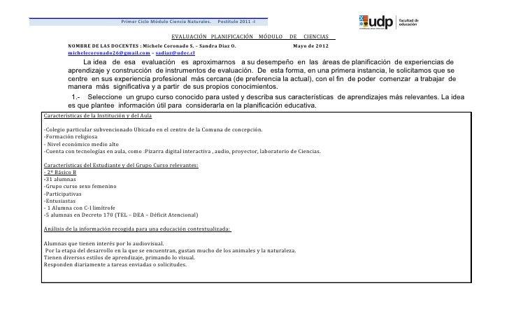 Primer Ciclo Módulo Ciencia Naturales.   Postítulo 2011 -I                                                    EVALUACIÓN P...
